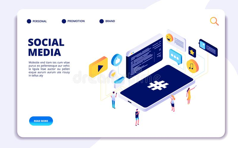 Social media isometric concept. People follow share content with phones, online dating. Cellphone addiction vector vector illustration
