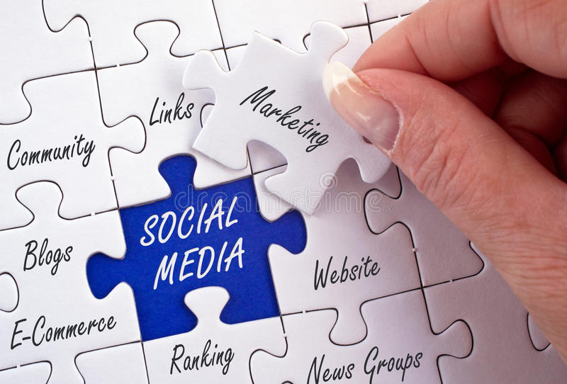 Social media jigsaw. With related topical words