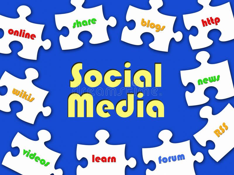 Social Media jigsaw puzzle royalty free illustration