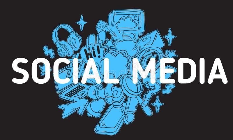 Social Media-künstlerische Karikatur-Hand gezeichnete flüchtige Linie Art Style Drawings Illustrations Icons und Symbol-Design lizenzfreie abbildung