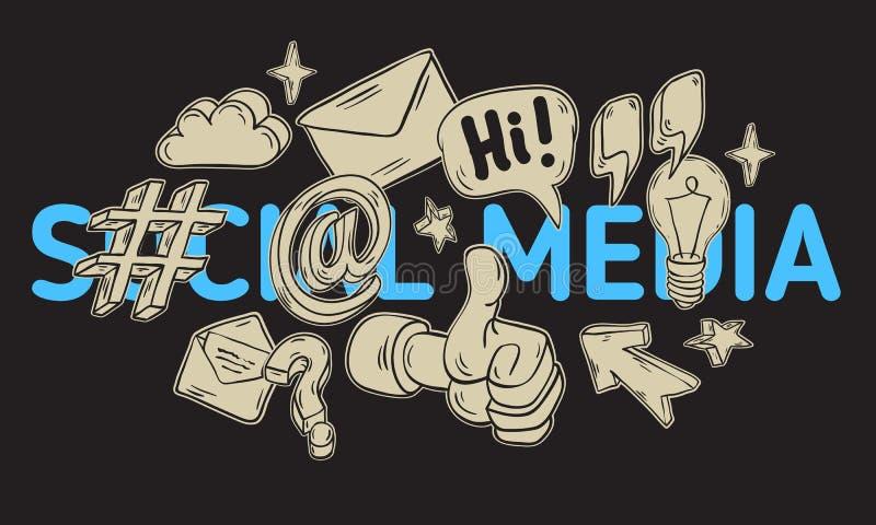 Social Media-künstlerische Karikatur-Hand gezeichnete flüchtige Linie Art Style Drawings Illustrations Icons und Symbol-Design vektor abbildung