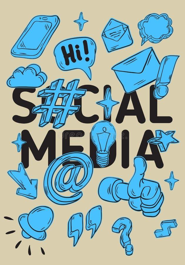 Social Media-künstlerische Karikatur-Hand gezeichnete flüchtige Linie Art Style Drawings Illustrations Icons und Symbol-Plakat stock abbildung