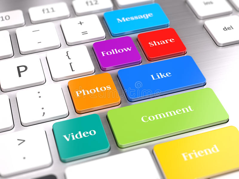 Social Media-Knöpfe auf Computertastatur lizenzfreie abbildung