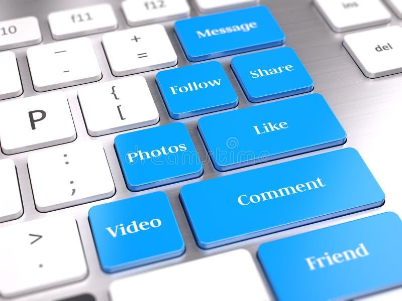 Social Media-Knöpfe auf Computertastatur vektor abbildung