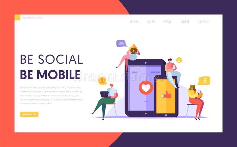Social Media-Kommunikationstechnologie-Charakter-Landungs-Seite Templpate Gruppe flaches Leute-Schwätzchen im Mobile und im Table vektor abbildung