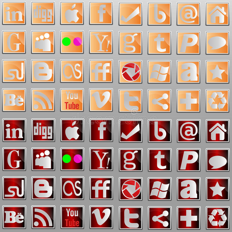 Social media l icons. Badge Button Facebook Plus Wordpress Digg Blogger Rss Social Behance Yahoo vector illustration