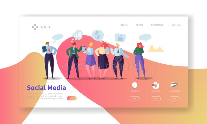 Social Media Landing Page Template. Website Layout with Flat People Characters Communicating. Easy to Edit. And Customize Mobile Web Site. Vector illustration royalty free illustration