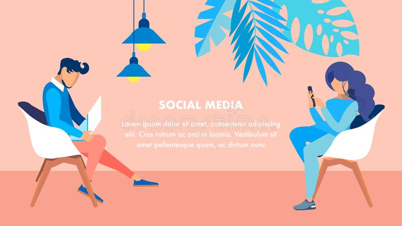 Social Media Leisure Flat Vector Banner Template. Man with Laptop and Woman Holding Smartphone Cartoon Characters. People Sitting in Armchairs. Internet stock illustration