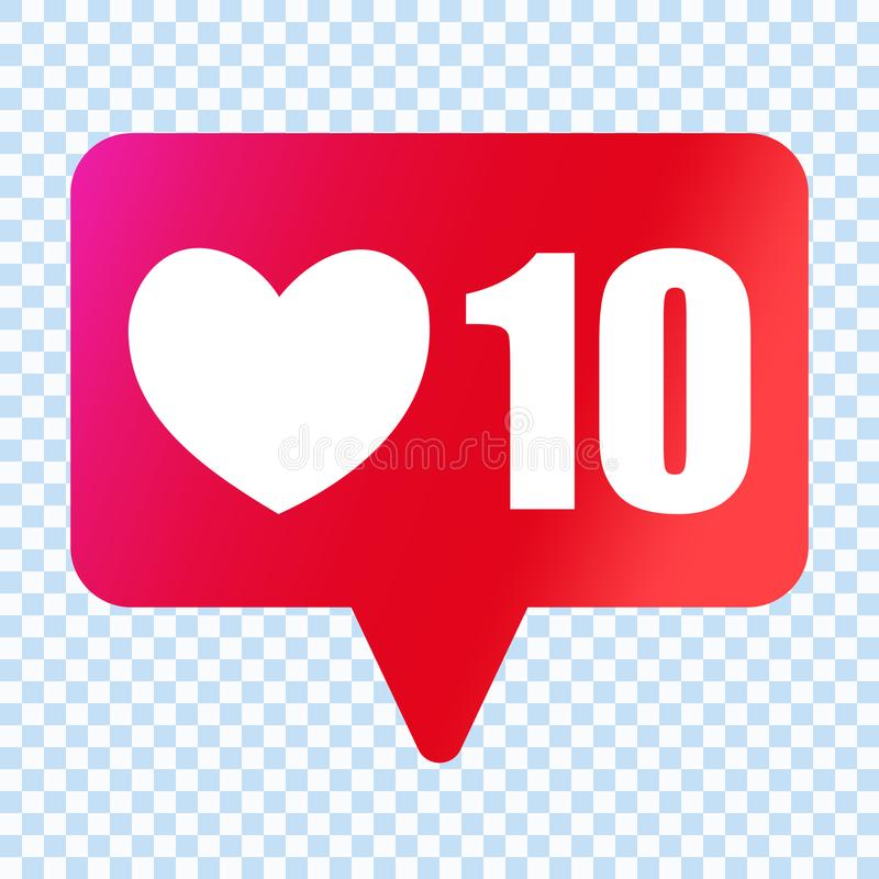 Social media like heart icon. Likes 10000 symbol. stock illustration