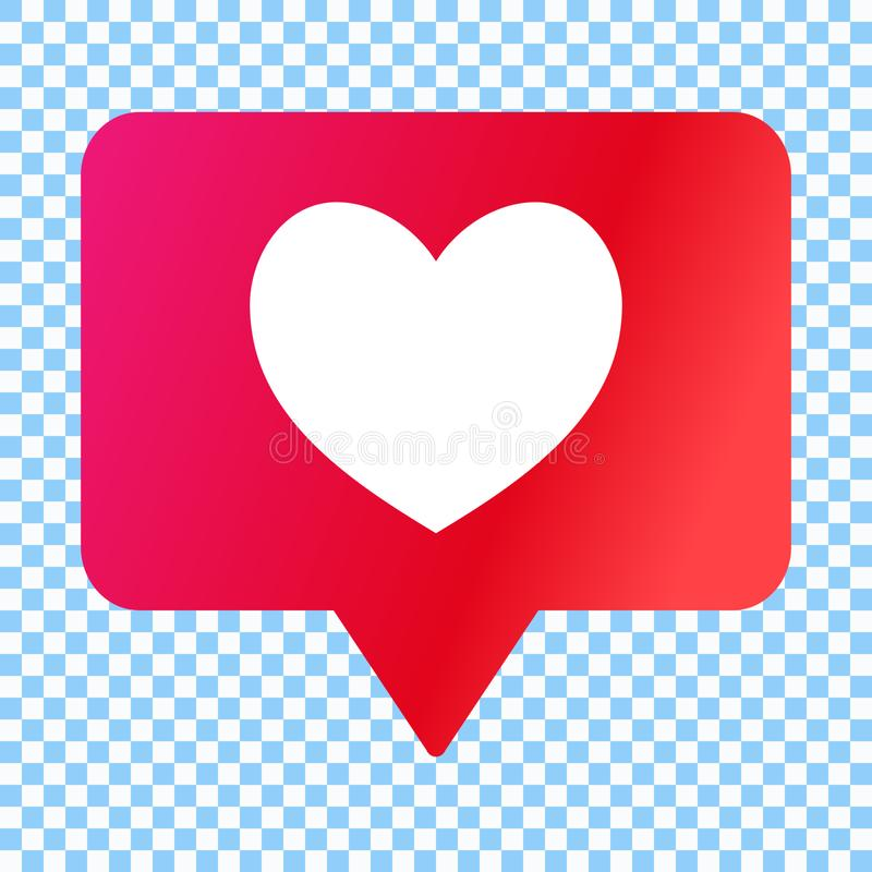 Social media like icon, heart in speech bubble, vector illustration. royalty free illustration