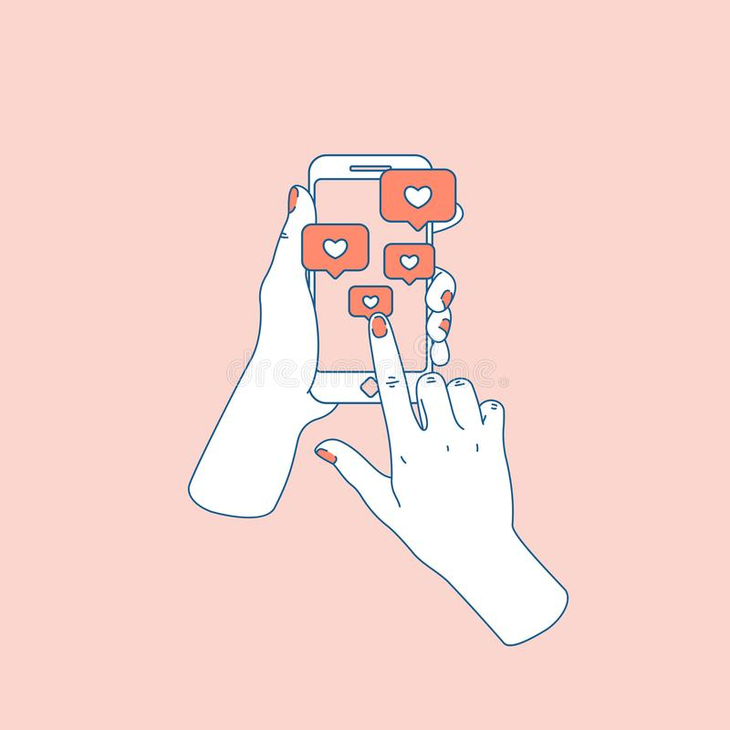 Social media like. Woman hand with smartphone. Following notification. Vector illustration royalty free illustration