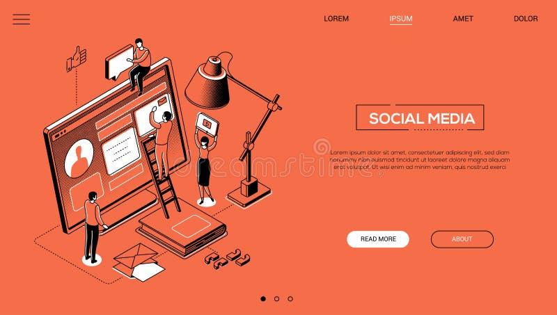 Social media - line design style isometric web banner vector illustration
