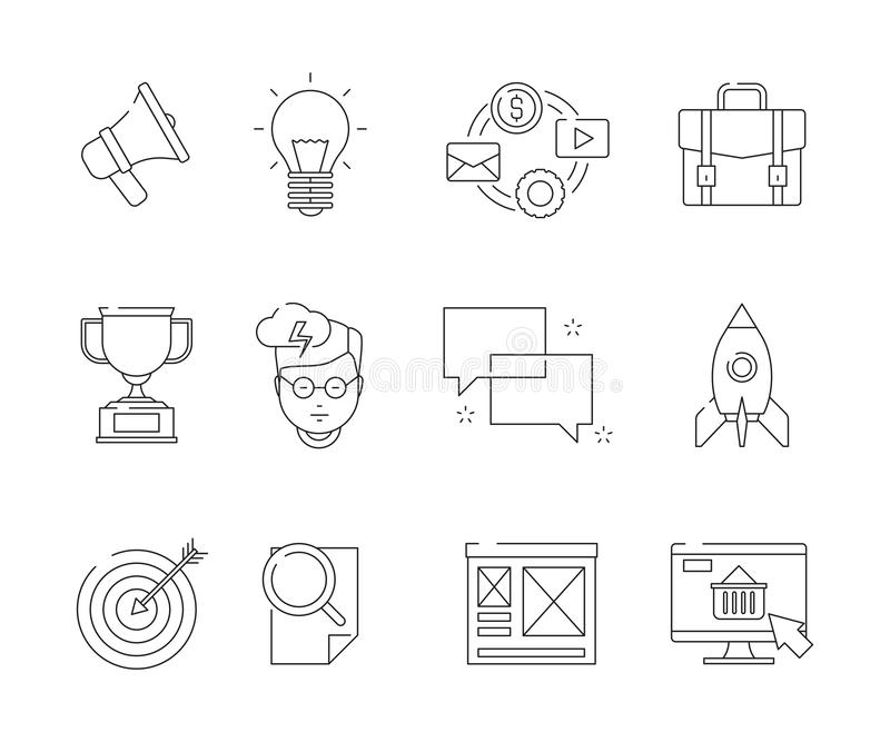 Social media line symbols. Seo business promotion marketing email discussion web advertizing flat vector icons pack vector illustration