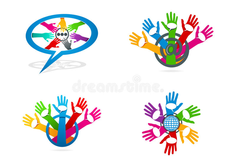 Social media logo, hand care with speech bublles symbol, global network communication concept design. Social media logo, hand care with speech bubbles symbol and royalty free illustration