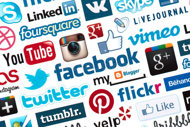 Social Media Logotype Background stock images