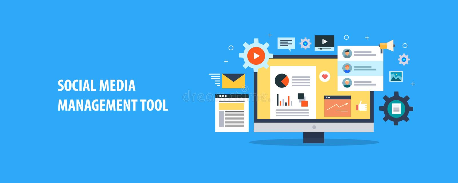 Social media management tools - social media automation - content management system. Flat design vector banner. Social media management and automation concept royalty free illustration