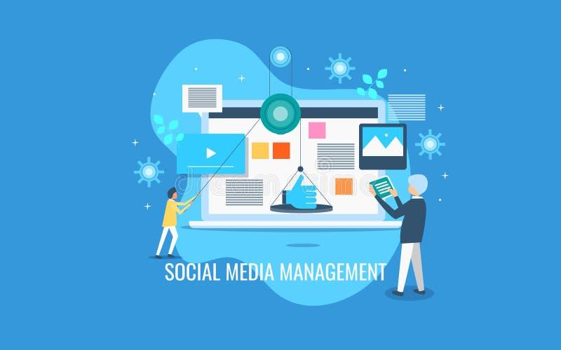 Social Media-Management, Geschäftsmänner, die Inhalt für Soziales Netz, zufriedene on-line-Förderung handhaben lizenzfreie abbildung