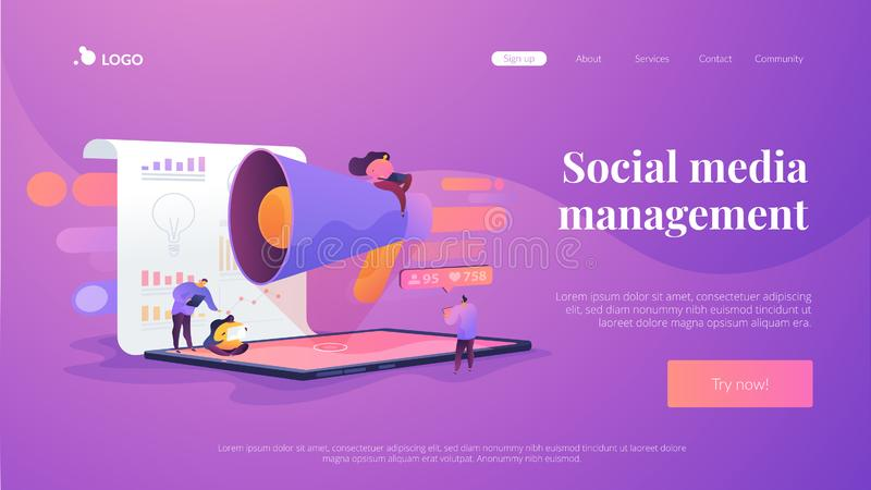 Social media management landing page template. Social media management, company SMM strategy, digital marketing tool concept. Website homepage header landing stock illustration