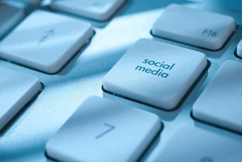 Social media marketing. Social media button on computer keyboard - social media marketing concept