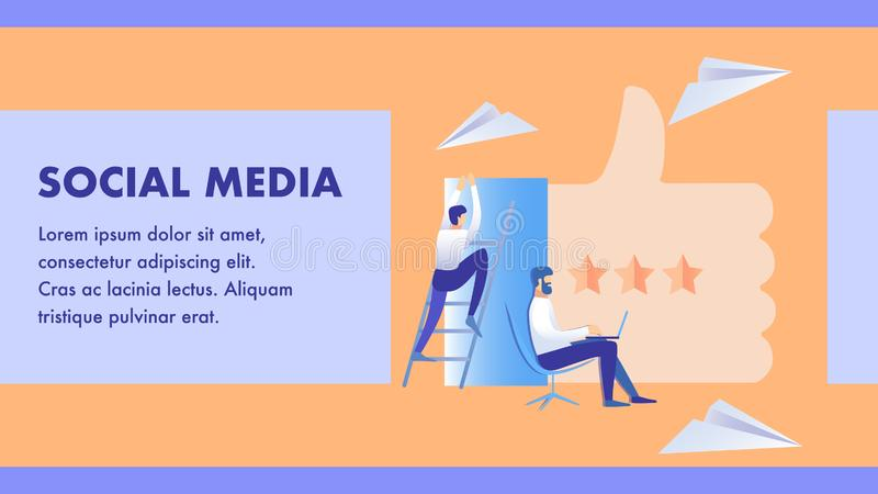 Social Media Marketing Business Banner Template. Online Customer, Client Support. Ranking System, Feedback, Review. SMM, Internet Promotion Service. Flat royalty free illustration