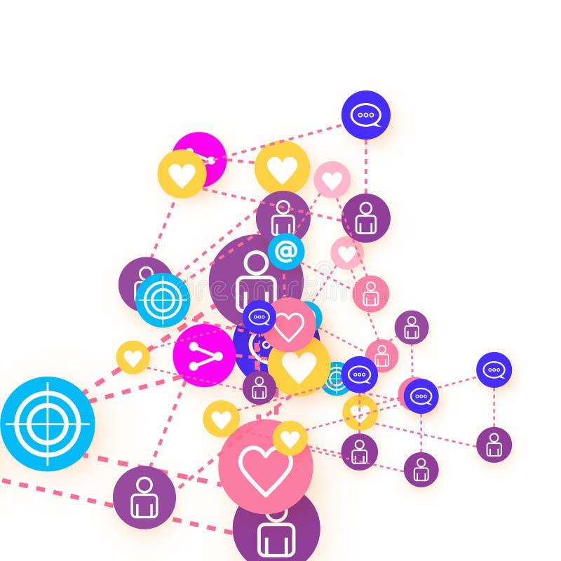 Social media marketing, Communication concept. Social media marketing, Communication networking concept. Random icons social media services tags linked on white royalty free illustration
