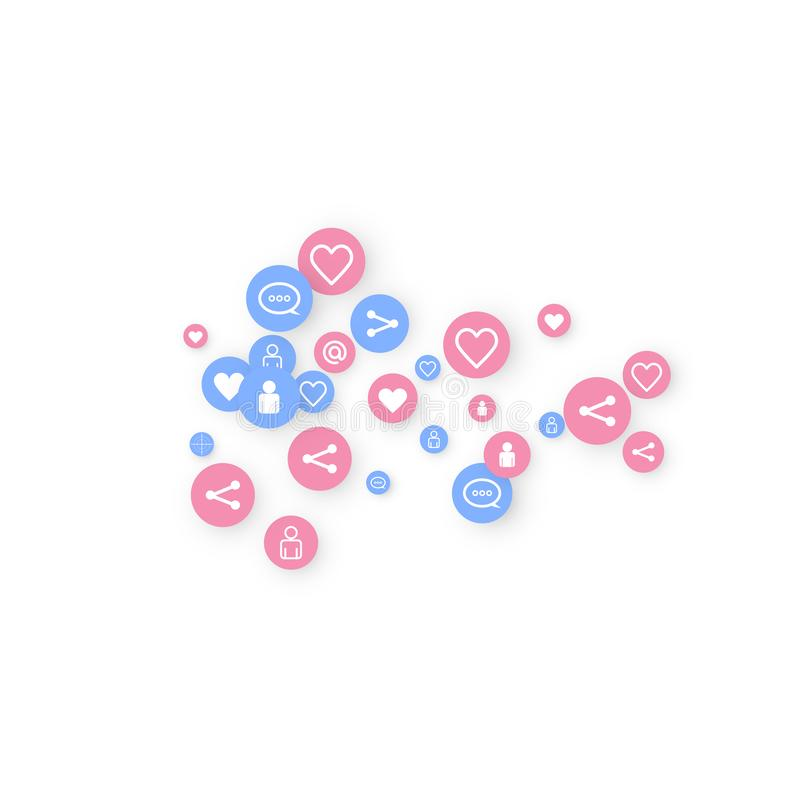 Social media marketing, Communication. Networking concept. Random icons social media services tags linked on white background. Comment, friend, like, share royalty free illustration