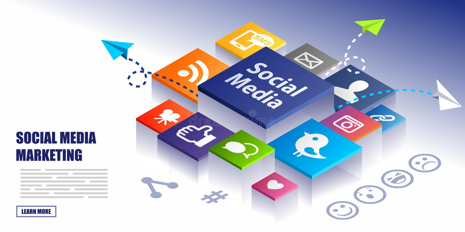 Social Media Marketing Concept Background. With various icons stock illustration