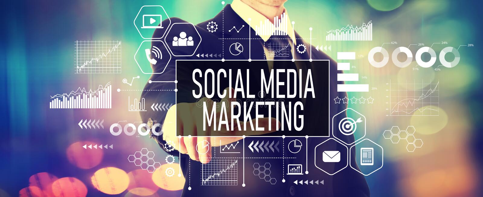 Social media marketing concept with a businessman stock photography