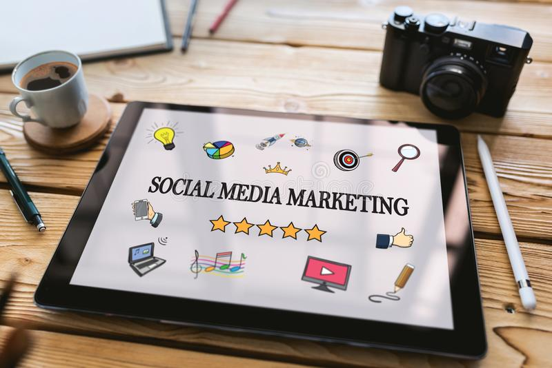 Social Media Marketing Concept on Digital Tablet stock photography