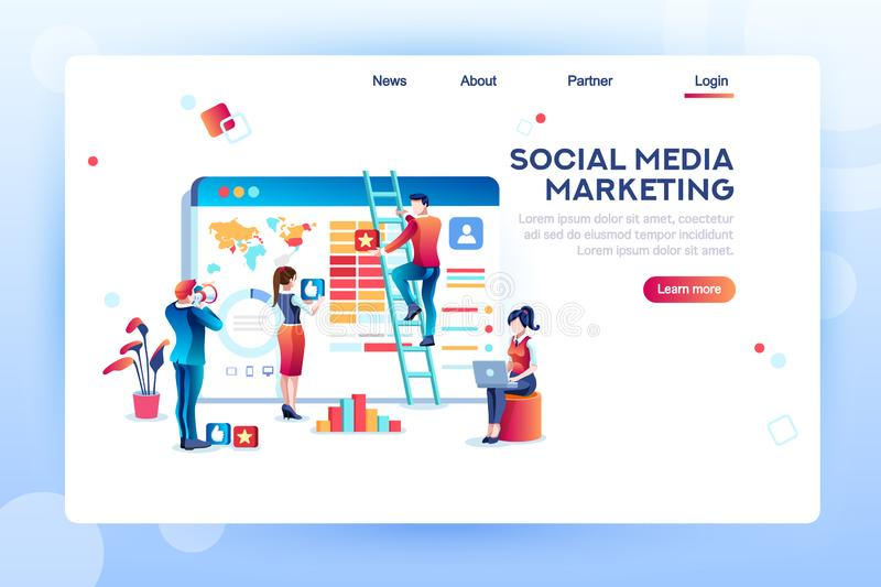 Content Analytics Social Media Concept Vector. Social media marketing development, customer analysis, content analytics. Analyzing professional audience stock illustration