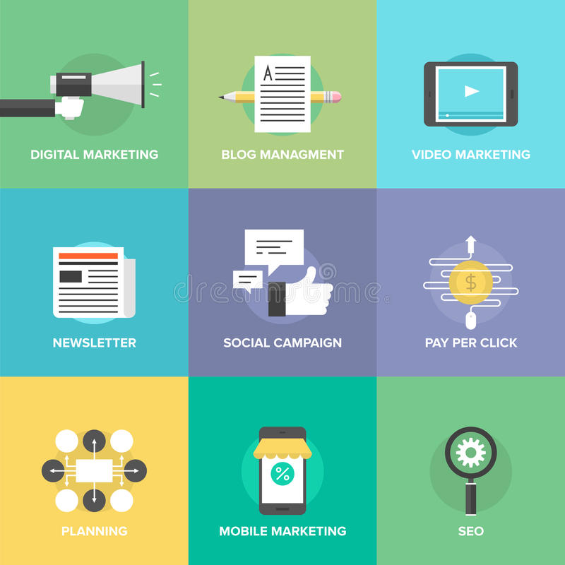 Social media marketing and development flat icons stock illustration