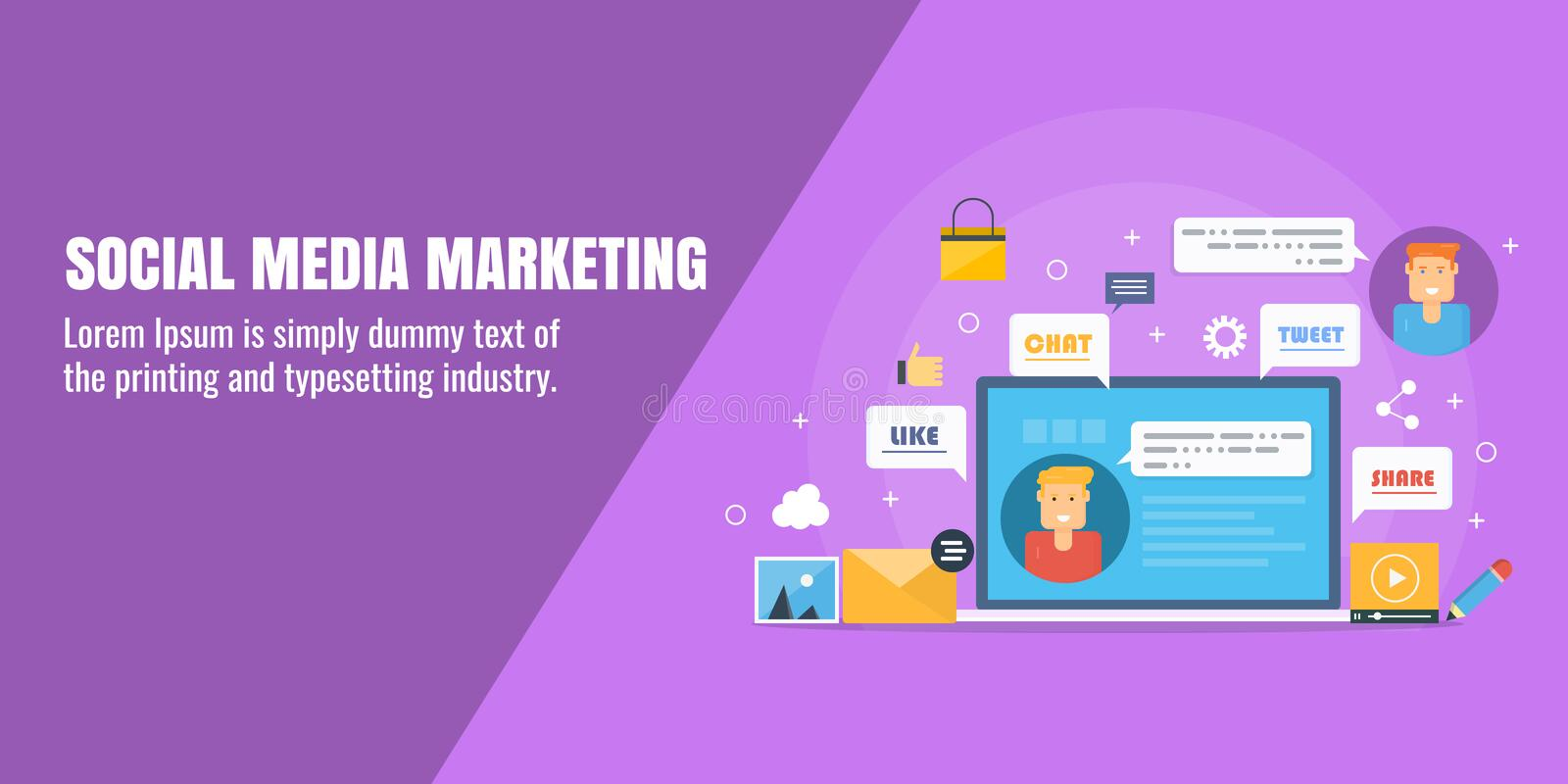 Social media marketing, digital marketing campaign, online advertisement, network building, social content sharing concept. stock illustration