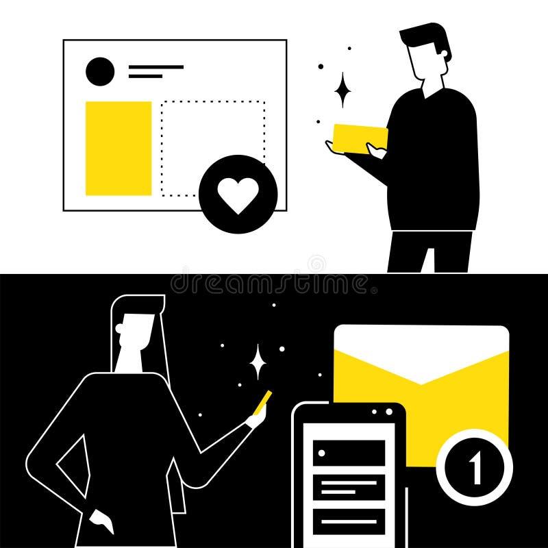 Social media marketing - flat design style vector illustration royalty free illustration