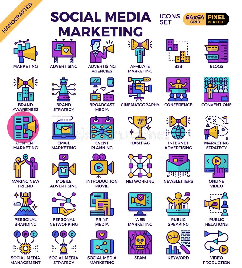 Social media marketing icons. Social media marketing concept detailed line business icons set in modern line icon style for ui, ux, website, web, app graphic vector illustration