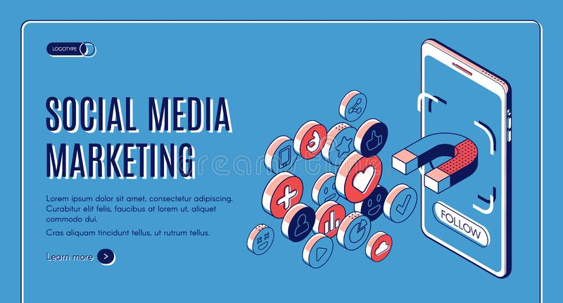 Social media marketing influencer concept banner. Social media marketing isometric web banner. Influencer concept with magnet attracting likes, feedbacks and vector illustration