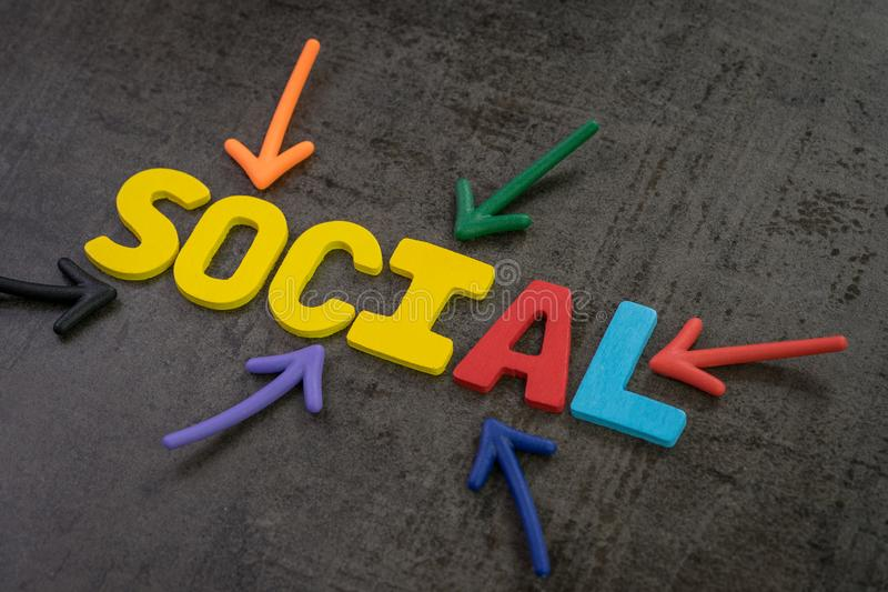 Social media marketing in modern communication concept, colorful stock photo