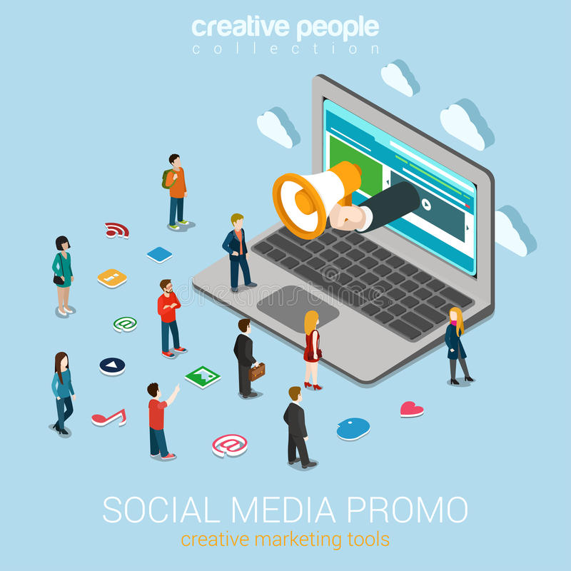 Social media marketing online promotion flat 3d web isometric vector illustration