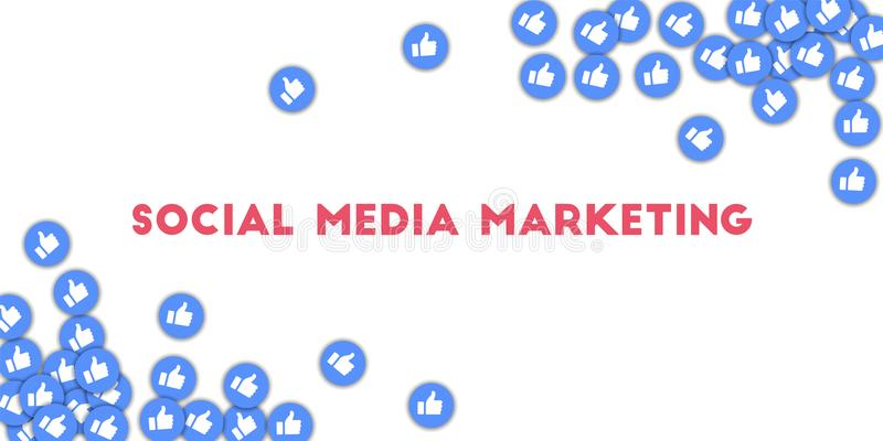 Social media marketing. Social media icons in abstract shape background with scattered thumbs up. So. Cial media marketing concept in uncommon vector vector illustration
