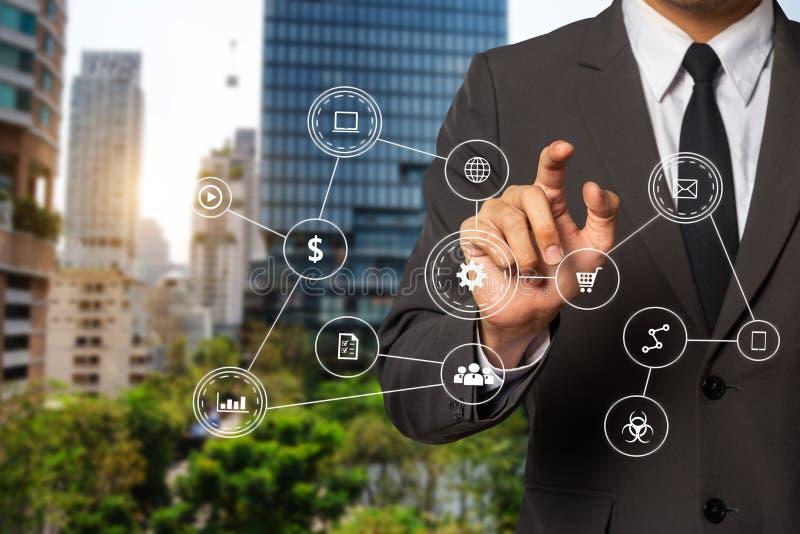 Social media and Marketing virtual icons royalty free stock photography