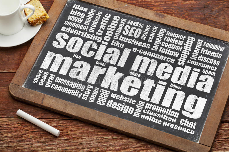 Social media marketing. Word cloud on a vintage blackboard with a cup of coffee