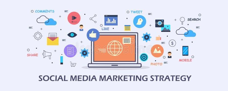 Social Media-Marketingstrategie - zufriedenes Marketing - digitales Medienförderungskonzept Flache Designvektorfahne vektor abbildung