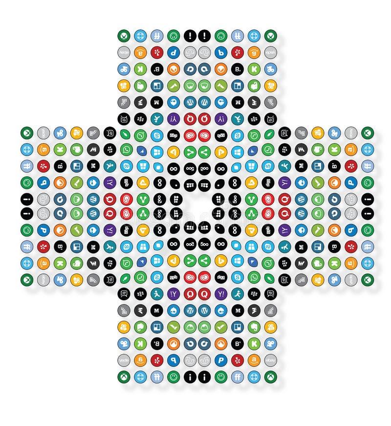 Social Media Medical Addiction Cross Sign Background. Isolated On White stock illustration