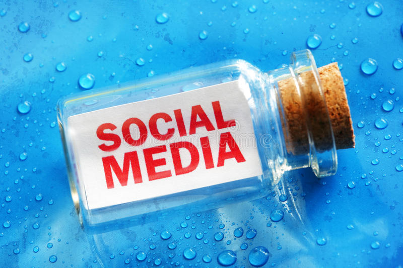 Social media message in a bottle stock image