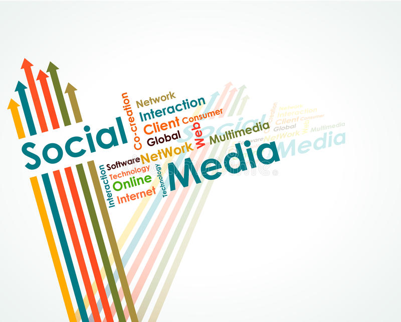 Social media mind map. With upward arrows royalty free illustration