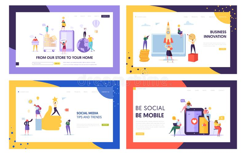 Social Media Mobile Tip and Trend Landing Page Set. Network Digital Business Innovation. Fast Delivery Service from Store. To Home Website or Web Page. Flat stock illustration