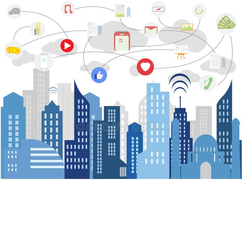 Social media of modern life. Connection technologies for business, Mixed media, vector city life flat illustration, smart media city with mobile icons vector illustration