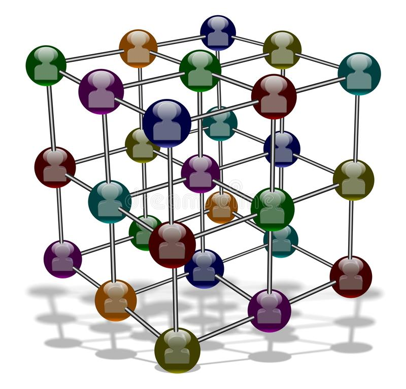 Social media molecule. Crystalline structure model of molecule with people figurines inside royalty free illustration