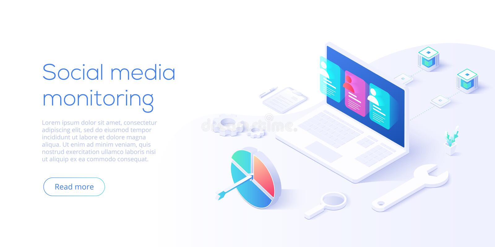 Social media monitoring concept in isometric vector design. Online internet marketing analysis or business monitoring tools. User royalty free illustration