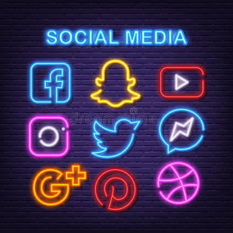 Neon Social Media Icons Set Facebook Instagram Twitter And Youtube Icon With Neon Glowing Led Lights Editorial Photo Illustration Of Icons Icon 157850711