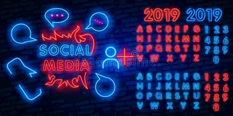 Social Media neon sign vector design template. Frame neon logo, light banner design element colorful modern design trend, night royalty free illustration